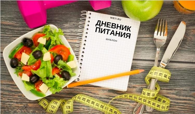 Дневник питания шаблон